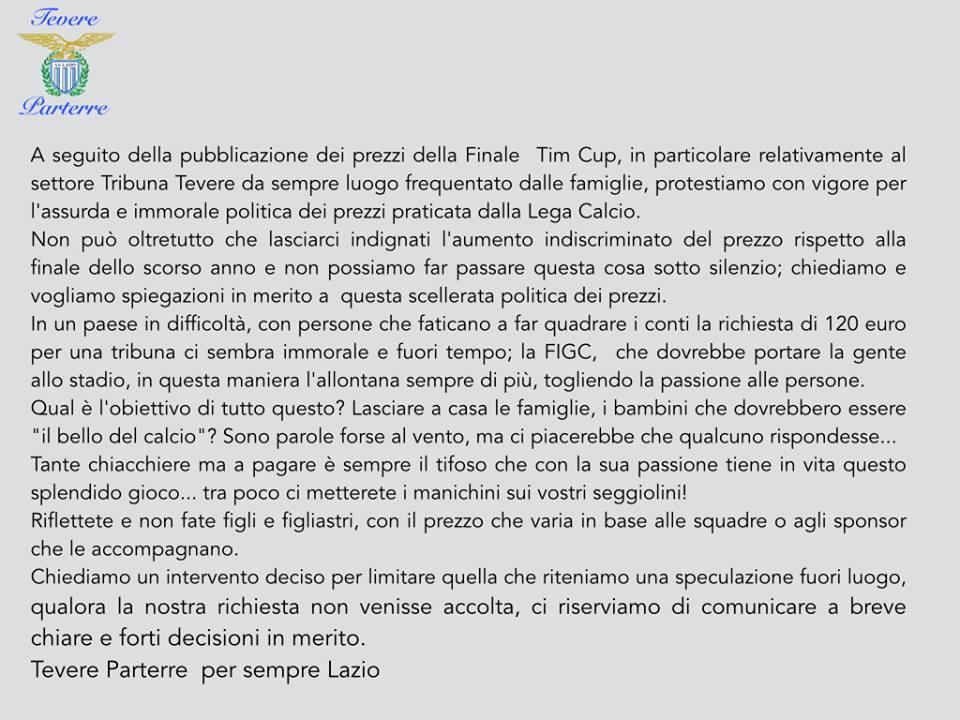 """La tevere protesta contro la FIGC:""""Tra poco metterete i manichini sui vostri seggiolini"""""""