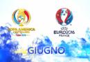 Campionato Europeo 2016 (prima giornata gironi C-D del 12 giugno) e Copa America Centenario(terza ed ultima giornata girone B del 13 giugno): la programmazione di Rai e Sky