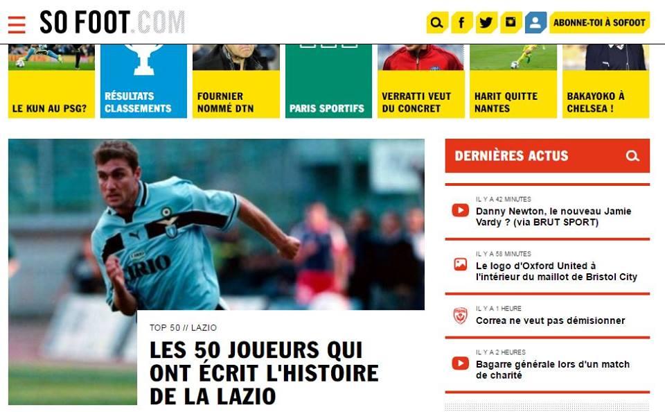 Lazio celebrata in Francia: la lista dei top 50 biancocelesti secondo SoFoot