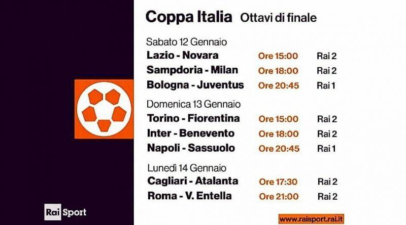 Coppa Italia, ottavi di finale del 13 Gennaio: la programmazione della Rai